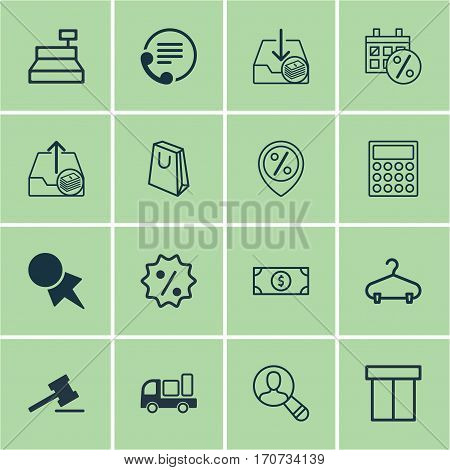 Set Of 16 Ecommerce Icons. Includes Telephone, Spectator, Peg And Other Symbols. Beautiful Design Elements.