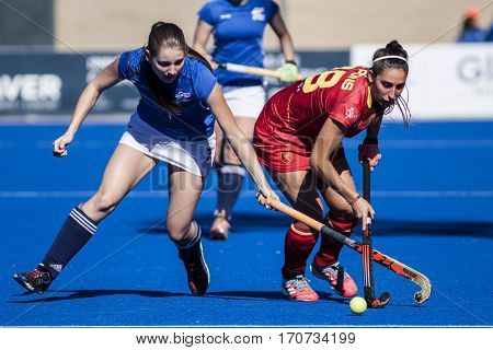 VALENCIA, SPAIN - FEBRUARY 5: (L) Hanzlova, (R) Pons during Hockey World League Round 2 match between Spain and Czech Republic at Betero Stadium on February 5, 2017 in Valencia, Spain