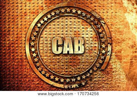 cab, 3D rendering, text on metal