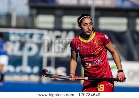 VALENCIA, SPAIN - FEBRUARY 5: Julia Pons during Hockey World League Round 2 match between Spain and Czech Republic at Betero Stadium on February 5, 2017 in Valencia, Spain