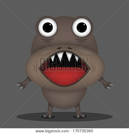 Angry horror monster for animation and comics with sharp teeth and red tongue . Humor comic animal