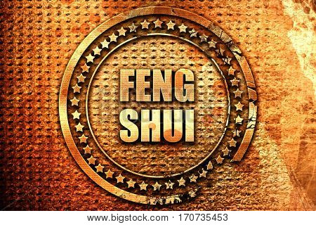 Feng shui, 3D rendering, text on metal