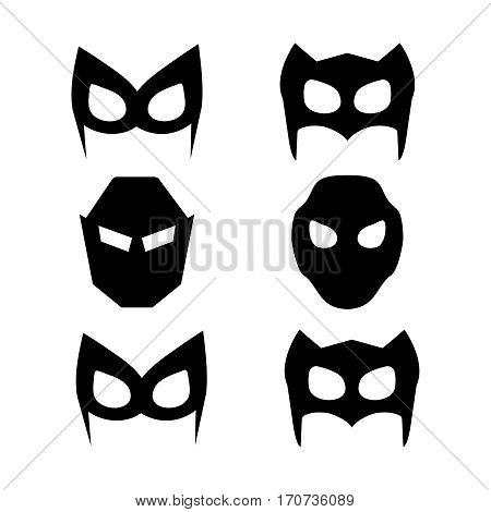 Super hero masks set. Superhero masks for face character in flat style. Superhero vector