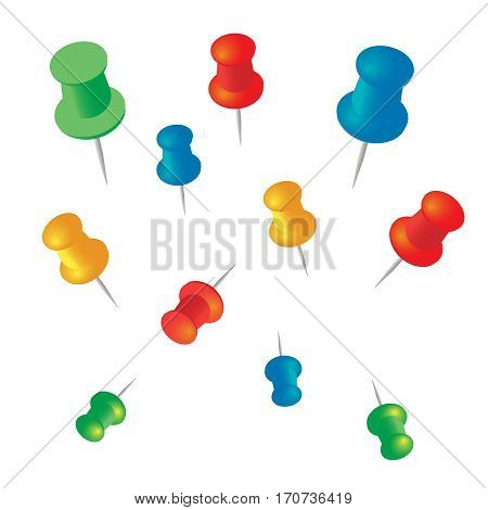 Push pins vector set. Stationery object plastic element tack and needle. Push pins vector