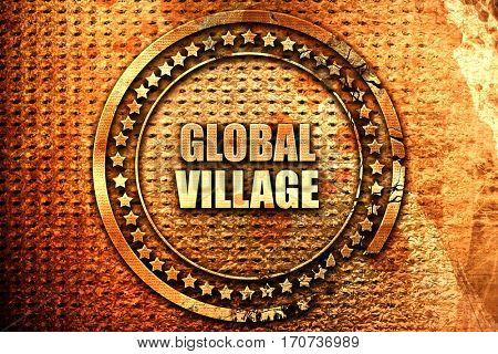 global village, 3D rendering, text on metal