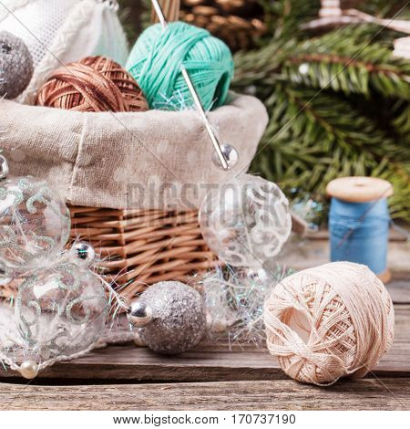 Christmas Toys With Ball Of Threads