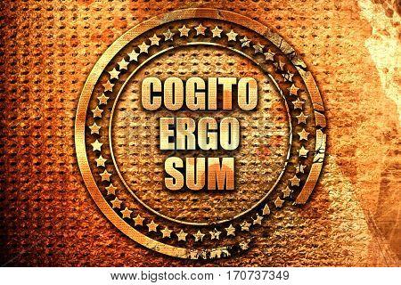 cogito ergo sum, 3D rendering, text on metal