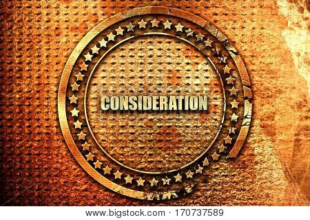 consideration, 3D rendering, text on metal