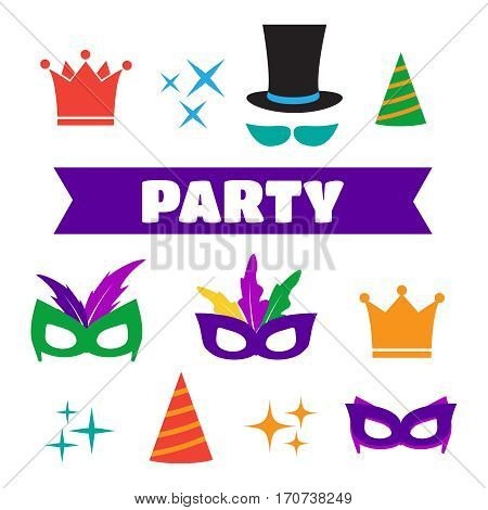 Party Birthday photo booth props. Hat and mask costume and cylinder. Party vector