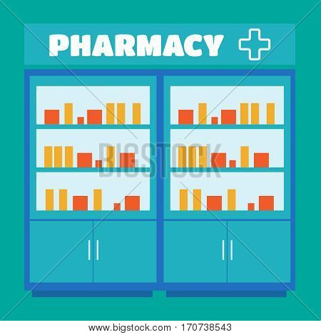 Male pharmacist in a pharmacy opposite the shelves vector. Pharmacist vector