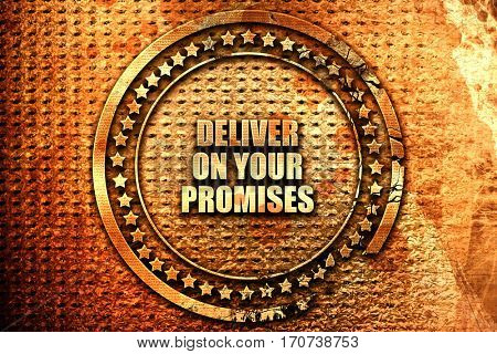 deliver on your promises, 3D rendering, text on metal