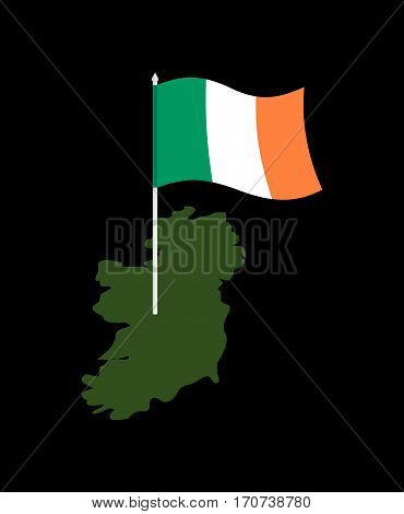 Ireland Map And Flag. Irish Banner And  Land Territory. State Patriotic Sign