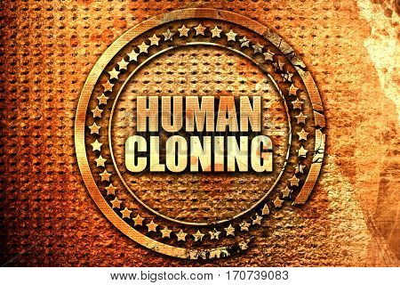 human cloning, 3D rendering, text on metal