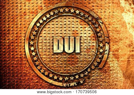dui, 3D rendering, text on metal