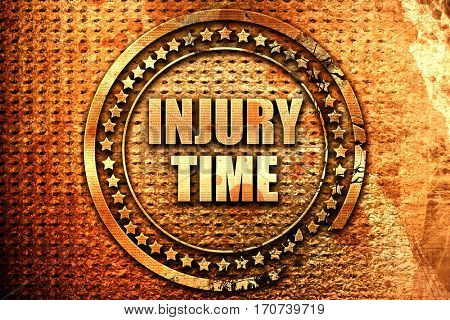 injury time, 3D rendering, text on metal