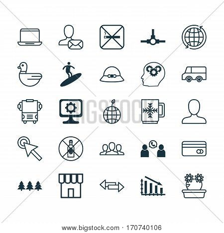 Set Of 25 Universal Editable Icons. Can Be Used For Web, Mobile And App Design. Includes Elements Such As Network Structure, Cursor Tap, Fail Graph And More.