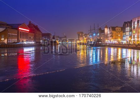 The old town of Gdansk at Motlawa river, Poland