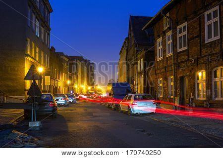 Dark street of Gdansk old town, Poland