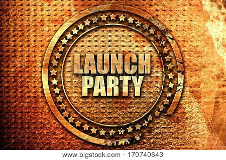 launch party, 3D rendering, text on metal