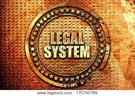 legal system, 3D rendering, text on metal