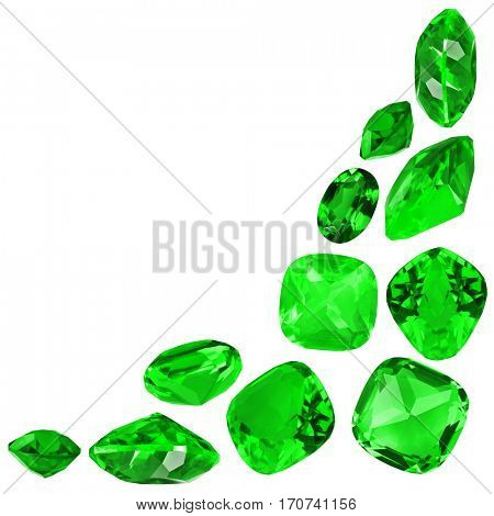 cornet from green emerald gems isolated on white background