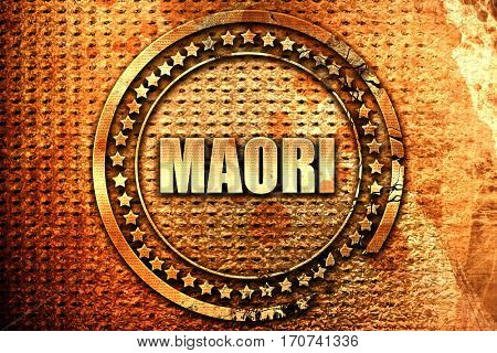 maori, 3D rendering, text on metal