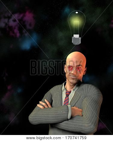 Man with smirk and idea  3D Render