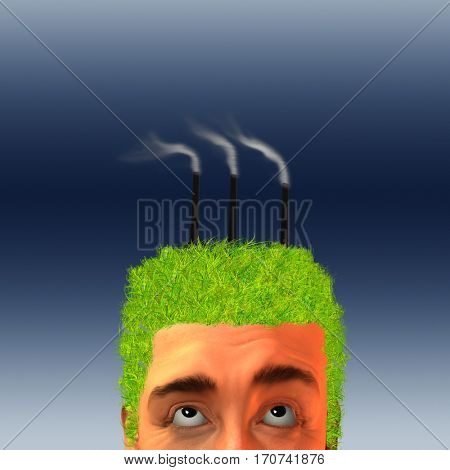Factory belches smoke in mans head  3D Render