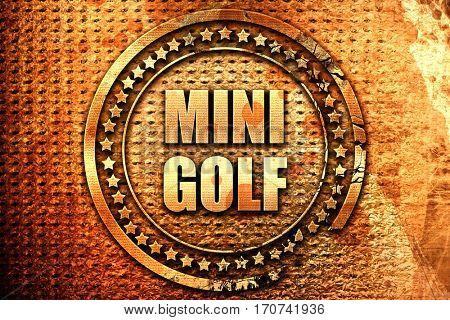 Mini Golf, 3D rendering, text on metal