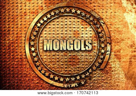 mongols, 3D rendering, text on metal