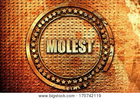molest, 3D rendering, text on metal