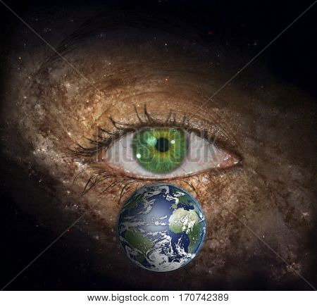 Eye in midst of Galaxy with Earth  3D Render  Some elements provided courtesy of NASA