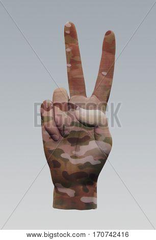 Camo Peace Sign  3D Render