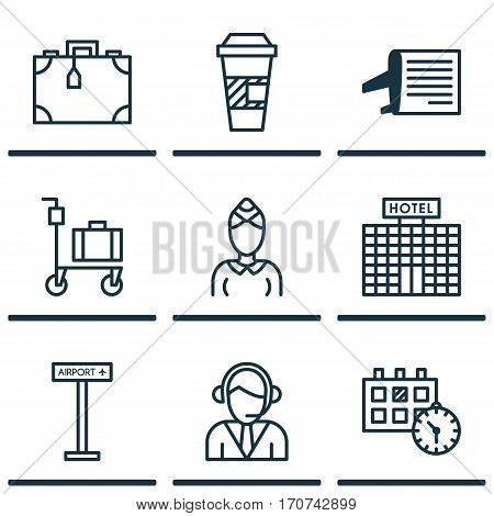 Set Of 9 Transportation Icons. Includes Timetable, Appointment, Airplane Information And Other Symbols. Beautiful Design Elements.