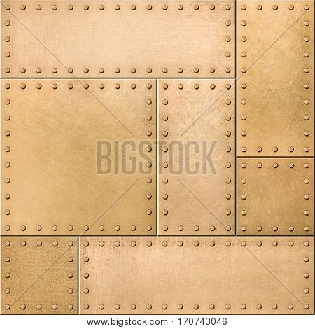 Gold metal plates with rivets seamless background 3d illustration
