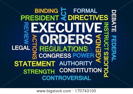 Executive Orders Word Cloud on Blue Background