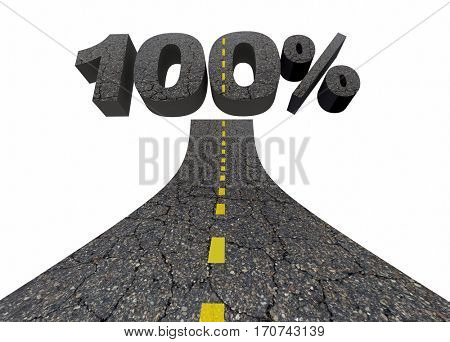 100 Percent One Hundred Top Score Total Complete Road 3d Illustration