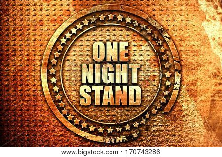 one night stand, 3D rendering, text on metal