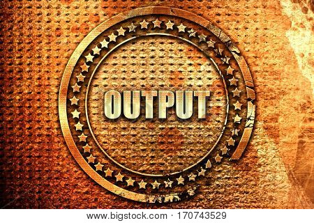 output, 3D rendering, text on metal