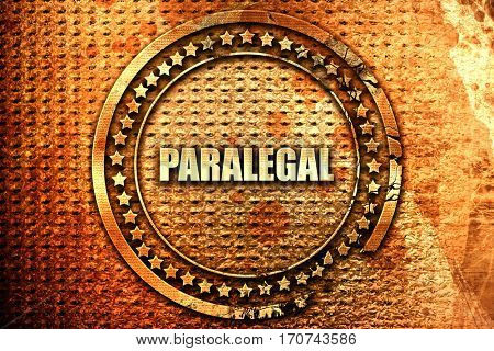 paralegal, 3D rendering, text on metal