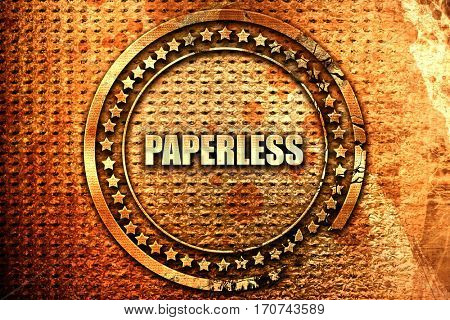 paperless, 3D rendering, text on metal