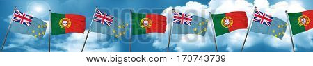 Tuvalu flag with Portugal flag, 3D rendering
