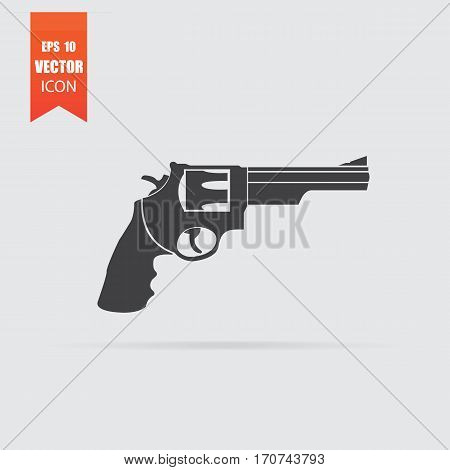 Revolver Icon In Flat Style Isolated On Grey Background.