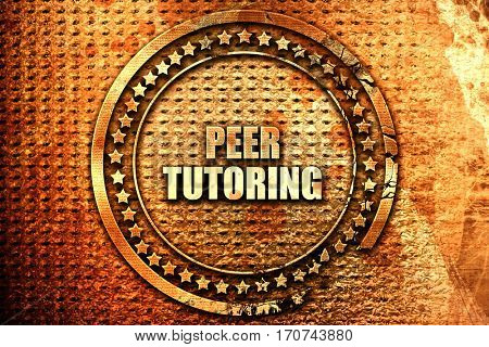 peer tutoring, 3D rendering, text on metal