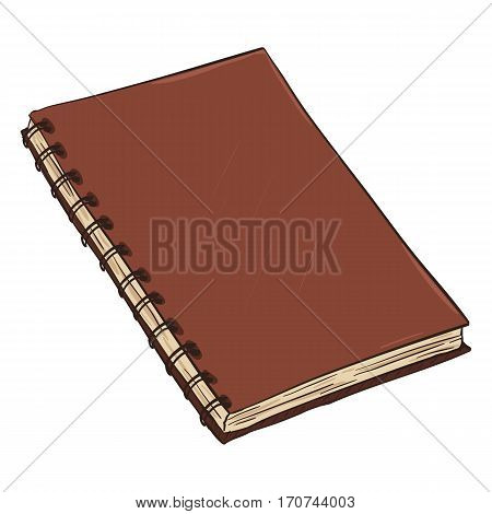 Vector Single Cartoon Spiral Notebook On White Background