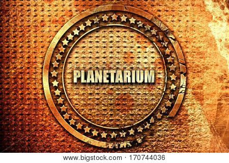 planetarium, 3D rendering, text on metal