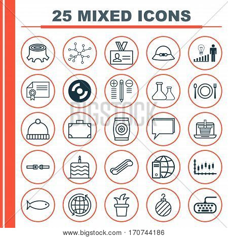 Set Of 25 Universal Editable Icons. Can Be Used For Web, Mobile And App Design. Includes Elements Such As Portfolio, Diploma, Stock Market And More.