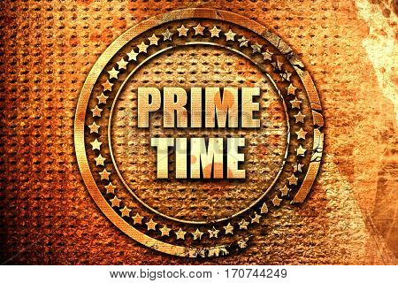 prime time, 3D rendering, text on metal