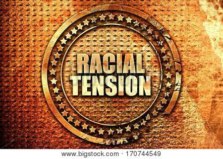 racial tension, 3D rendering, text on metal
