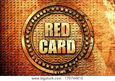 red card, 3D rendering, text on metal